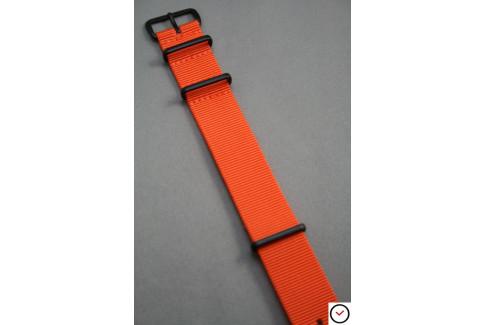 Bracelet nylon NATO Orange, boucle PVD (noire)