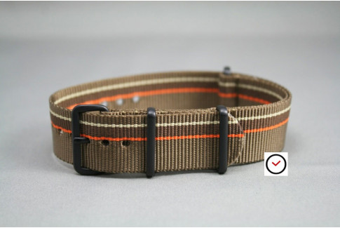 Bracelet nylon NATO Marron Bronze Chocolat & liserés Orange Beige Sable, boucle PVD (noire)