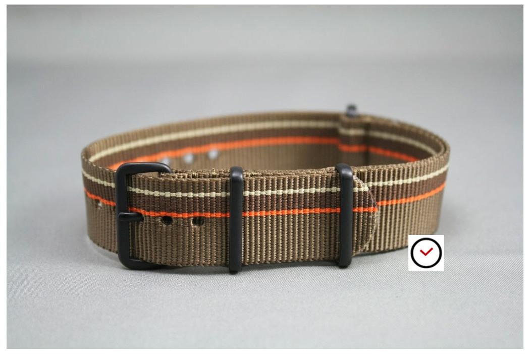 Bracelet nylon NATO Marron Bronze Chocolat & liserés Orange Beige Sable, boucle PVD (noire)