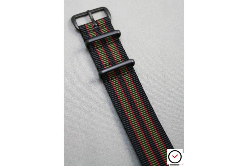Bracelet nylon NATO Bond Original (Noir Kaki Rouge), boucle PVD (noire)