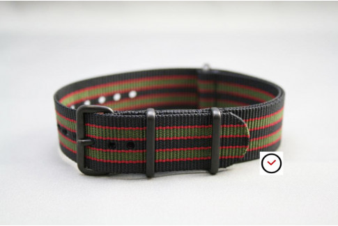 Original Bond G10 NATO strap (Black Green Red), PVD buckle and loops (black)