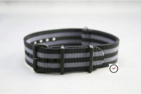 Bracelet nylon NATO Bond Craig (Noir Gris), boucle PVD (noire)