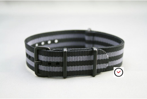 Craig Bond G10 NATO strap (Black Grey), PVD buckle and loops (black)