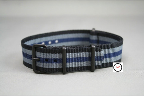 Black Grey Blue James Bond G10 NATO strap, PVD buckle and loops (black)