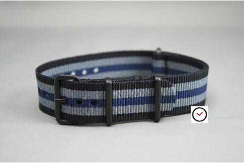 Bracelet nylon NATO Bond Noir Gris Bleu, boucle PVD (noire)