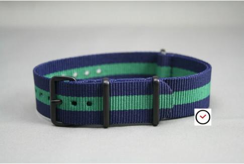 Bracelet nylon NATO Bleu Navy Vert, boucle PVD (noire)