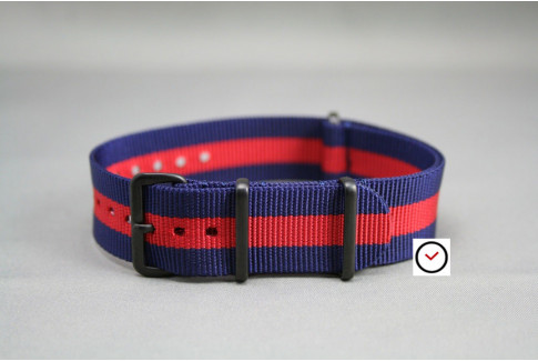 Bracelet nylon NATO Bleu Navy Rouge, boucle PVD (noire)