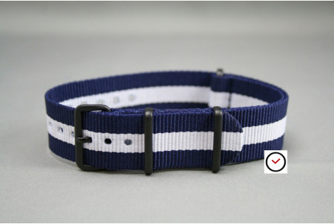 Bracelet nylon NATO Bleu Navy Blanc, boucle PVD (noire)