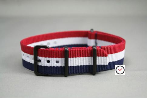 Bracelet nylon NATO Tricolore Bleu Blanc Rouge, boucle PVD (noire)