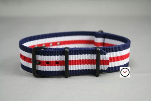 Bracelet nylon NATO Double Bleu Blanc Rouge, boucle PVD (noire)