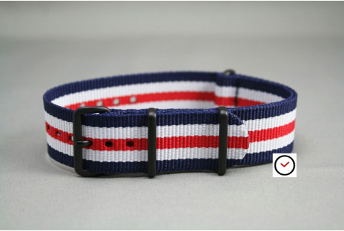 Double Blue White Red G10 NATO strap, PVD buckle and loops (black)