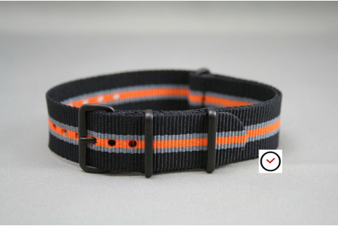 Black Grey Orange Heritage G10 NATO strap, PVD buckle and loops (black)