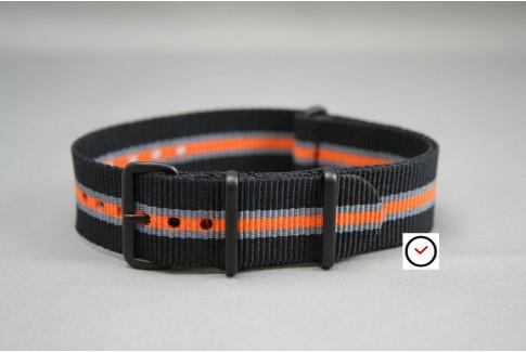 Bracelet nylon NATO Héritage Noir Gris Orange, boucle PVD (noire)