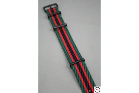 Bracelet nylon NATO Vert Rouge Noir, boucle PVD (noire)