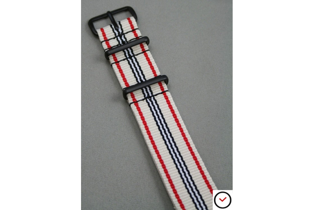 White Red Black G10 NATO strap, PVD buckle and loops (black)