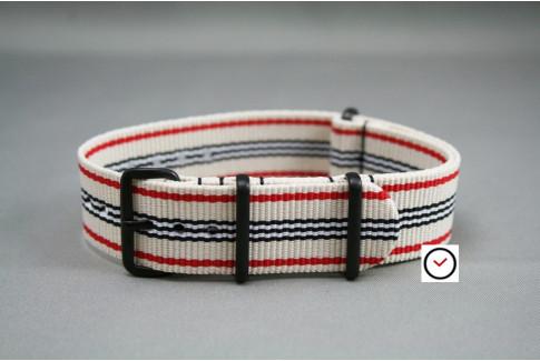 Bracelet nylon NATO Blanc Rouge Noir, boucle PVD (noire)