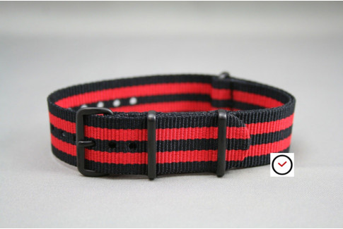 Black Red James Bond G10 NATO strap, PVD buckle and loops (black)
