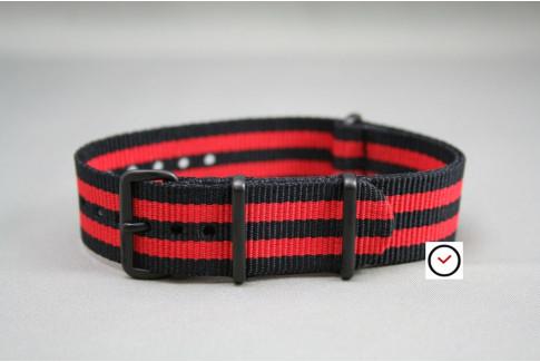 Bracelet nylon NATO Bond Noir Rouge, boucle PVD (noire)