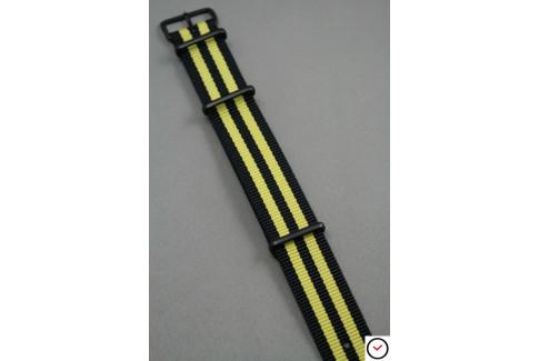 Bracelet nylon NATO Bond Noir Jaune, boucle PVD (noire)