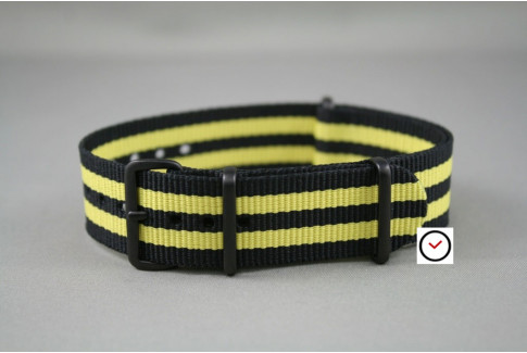 Black Yellow James Bond G10 NATO strap, PVD buckle and loops (black)