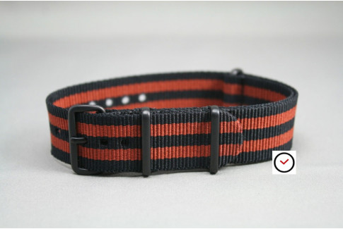 Bracelet nylon NATO Bond Noir Marron Cuivré, boucle PVD (noire)