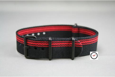 Bracelet nylon NATO Ducati Noir Rouge, boucle PVD (noire)