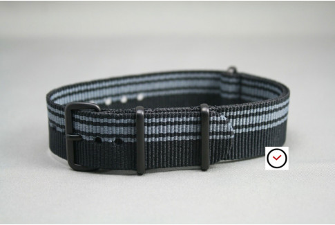 Black Grey Ducati G10 NATO strap, PVD buckle and loops (black)