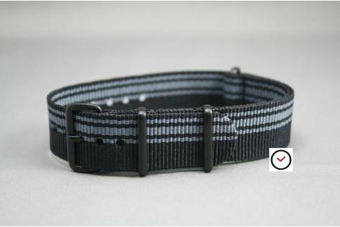 Bracelet nylon NATO Ducati Noir Gris, boucle PVD (noire)