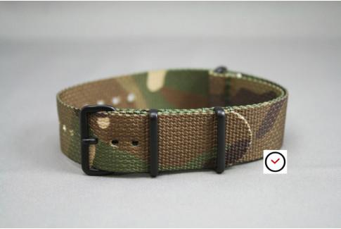 Bracelet nylon NATO Camouflage, boucle PVD (noire)