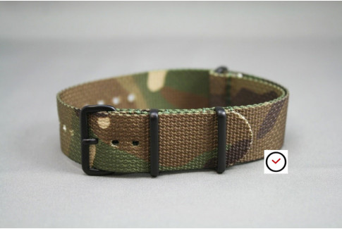 Camouflage G10 NATO strap, PVD buckle and loops (black)