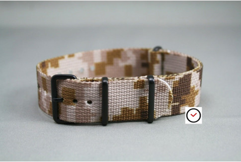 Bracelet nylon NATO Camouflage Désert, boucle PVD (noire)