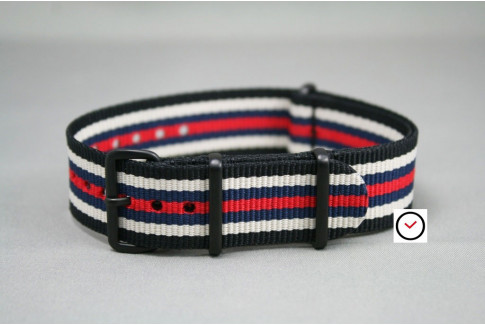 Bracelet nylon NATO Noir Blanc Bleu Navy Rouge, boucle PVD (noire)