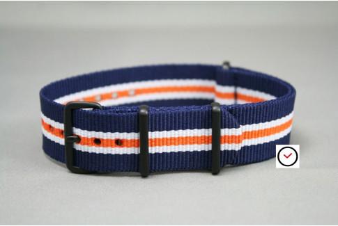 Bracelet nylon NATO Héritage Bleu Navy Blanc Orange, boucle PVD (noire)