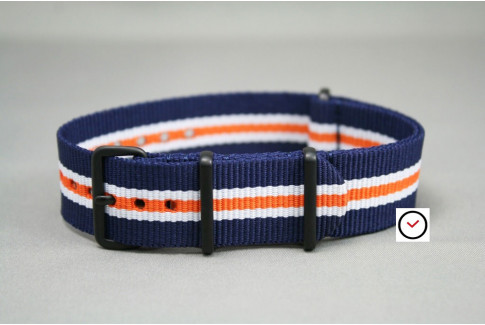 Navy Blue White Orange Heritage G10 NATO strap, PVD buckle and loops (black)