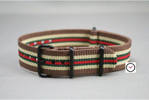 Brown Sandy Beige Green Red NATO strap, PVD buckle and loops (black)