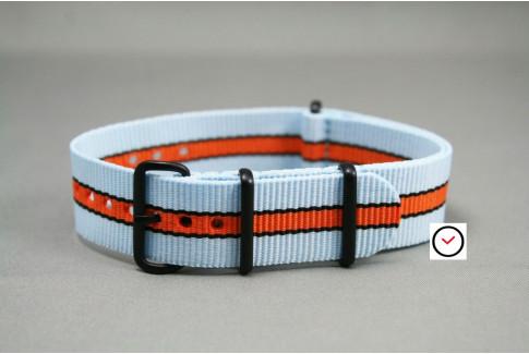 Bracelet nylon NATO Gulf / Le Mans (Bleu Ciel, Orange, Noir), boucle PVD (noire)
