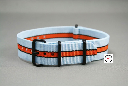 Gulf / Le Mans NATO strap (Blue, Orange, Black), PVD buckle and loops (black)