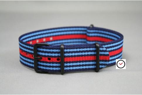 Bracelet nylon NATO Martini Racing (Bleu Ciel, Marine, Rouge), boucle PVD (noire)