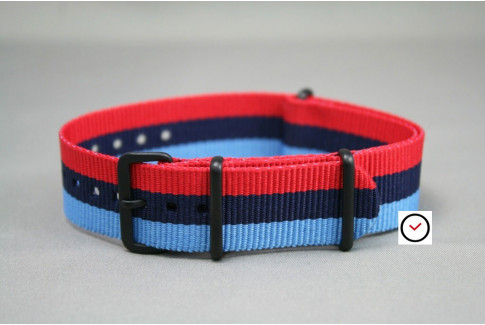 BMW Racing NATO strap (Blue & Red), PVD buckle and loops (black)