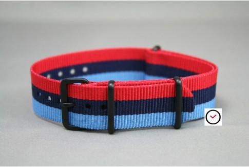 Bracelet nylon NATO BMW Racing (Bleu Ciel, Marine, Rouge), boucle PVD (noire)
