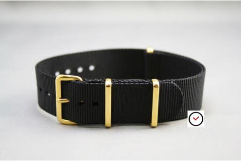 Bracelet nylon NATO Noir, boucle or (dorée)