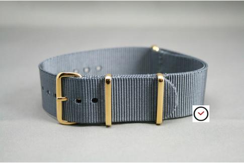 Bracelet nylon NATO Gris, boucle or (dorée)