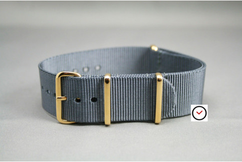 Grey G10 NATO strap, gold buckle and loops