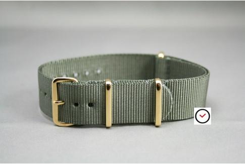 Bracelet nylon NATO Gris Vert, boucle or (dorée)