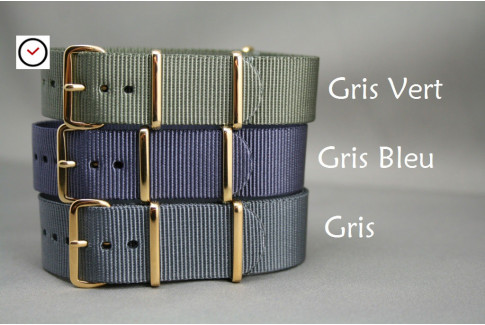 Green Grey G10 NATO strap, gold buckle and loops
