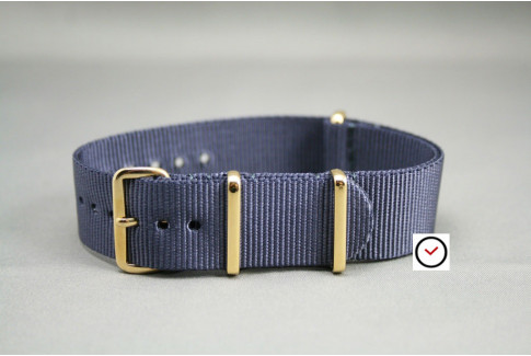Blue Grey G10 NATO strap, gold buckle and loops