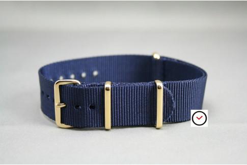 Bracelet nylon NATO Bleu Nuit, boucle or (dorée)