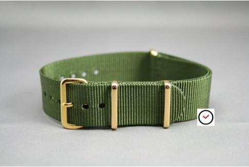 Bracelet nylon NATO Vert Kaki (Militaire), boucle or (dorée)