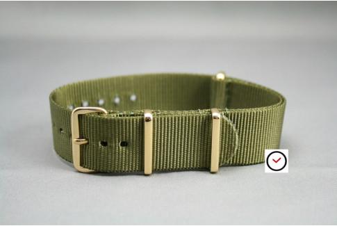 Bracelet nylon NATO Vert Olive, boucle or (dorée)