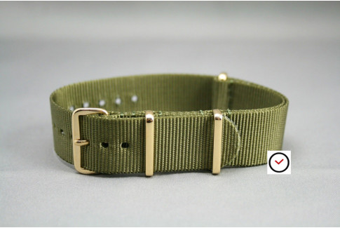 Olive Green G10 NATO strap, gold buckle and loops